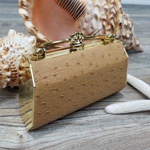 Bijoux Ternet Tan Faux Ostrich evening mini bag